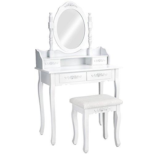TecTake Toletta tavolino da trucco con sgabello tavolo per cosmetici specchiera bianco