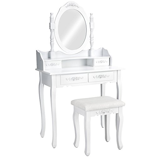 TecTake Coiffeuse Meuble Table de Maquillage Miroir + Tabouret | 4 tiroirs | Blanc