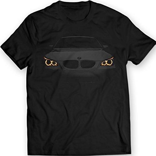 BMW E60 Camiseta Enojado 530 Angel Eyes Luces 100% Algodón (L, Negro)
