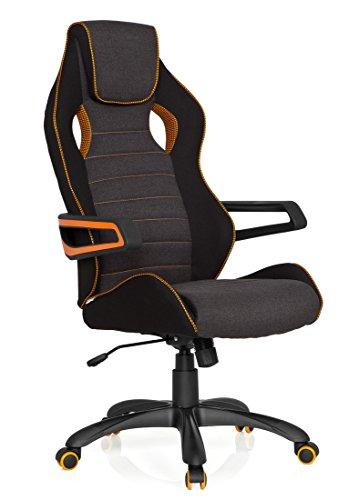 hjh OFFICE 621848 Racing Chefsessel Racer PRO III Stoff Schwarz/Grau Gamer Schreibtischstuhl mit hoher Rückenlehne