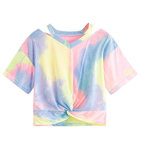 KIMODO T Shirt Damen I Love You 3000 Times Drucken Bluse Sommer Kurzarm Locker Lässig Top mit V-Ausschnitt Bogen-Knoten-Verband Oberteile Shirt -