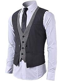 STTLZMC Gilet Uomo Slim Fit Elegante Casual Smanicato Scollo a V Panciotto  Matrimonio Corpetto 2in1 Blazer 3e372d7d899