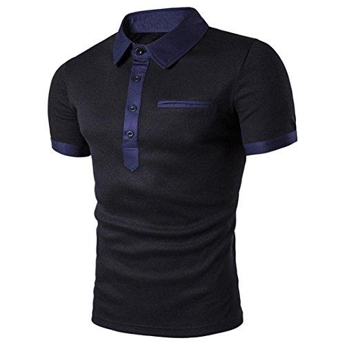 Herren Shirt Polo Geschäft Kurzarmshirt Slim Fit Polohemden Kurzarm T shirt Männer Freizeit Hemd Btruely (M, Schwarz) (Golf Hoffe, Shirt)