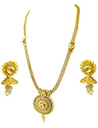 Suratdiamond Traditional Round Shaped White Stone And Gold Plated Necklace Earring Fashion Jewellery Set For Women...