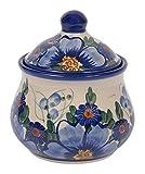 Traditionelle Polnische Keramik, Handgefertigte Zuckerdose mit Deckel im Bunzlauer Stil (300ml) C.201 (Passion Collection)