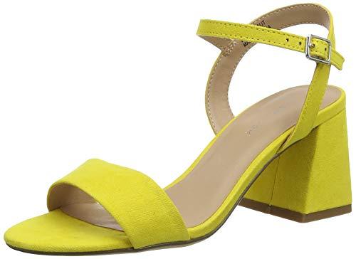 Zapatos de tacón ancho de color amarillo verdoso