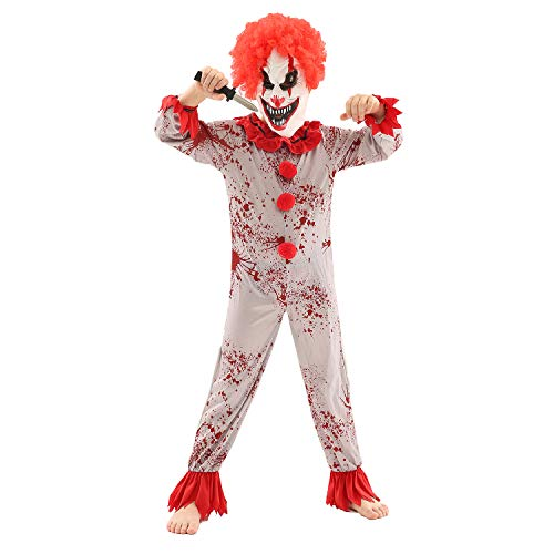 Halloween Rote Kostüm Kinder - Forever Young Jungen Clown-Kostüm Horror Gruselvernichter Clown Jumpsuit + Maske Gr. Alter 9-10, rot
