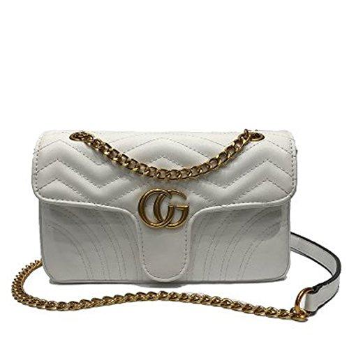 te Gold gesteppte Umhängetasche Mini Cross Body Damen Handtasche Clutch Klassische Abendtasche (24 * 14 * 7CM, Weiß) ()