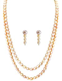 2 LINE PINK OVAL PEARL SET