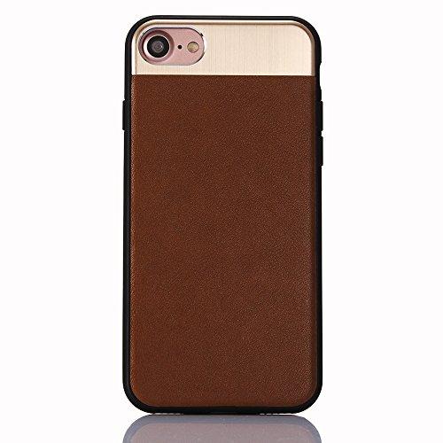 "iPhone 7 Hülle, iPhone 7 Schwarze Silikontasche, CLTPY Ultra Hybrid 2 in 1 Plating TPU Schutzfall, Dünne Weben Muster Series Stoßfest Case für 4.7"" Apple iPhone 7 + 1 x Stift - Black A Braun C"