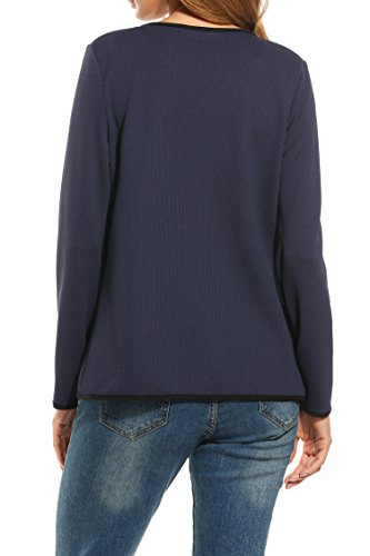Parabler Damen Herbst Strickjacke Cardigan Blazer Jacke Mantel Pullover  Tops Dunkelblau 126c168231