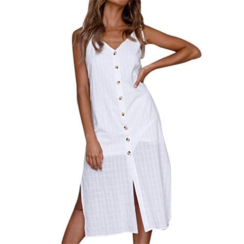 NPRADLA Moda para Mujer con Cuello en V Camisola Color Puro botón único Pow Buttock Mini Vestido Elegante Moda Fresco Casual Hermoso Cómodo Blanco L
