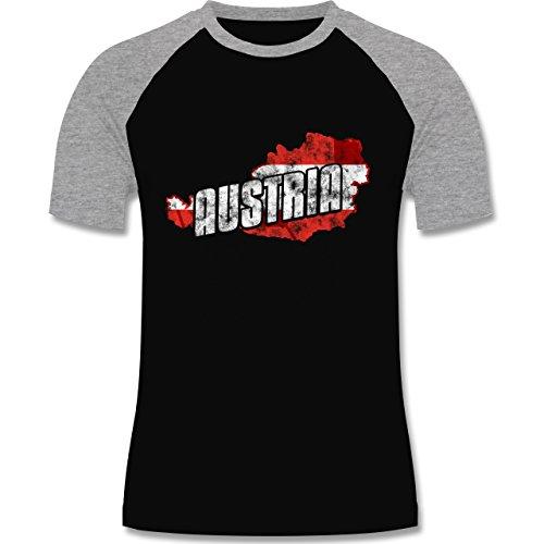 EM 2016 - Frankreich - Austria Umriss Vintage - zweifarbiges Baseballshirt für Männer Schwarz/Grau Meliert