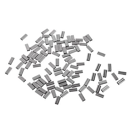 MagiDeal 100 Stück Doppe Barrel Kupfer Klemm Hülsen Angelgerät Ärmel Werkzeug - 2,0mm -