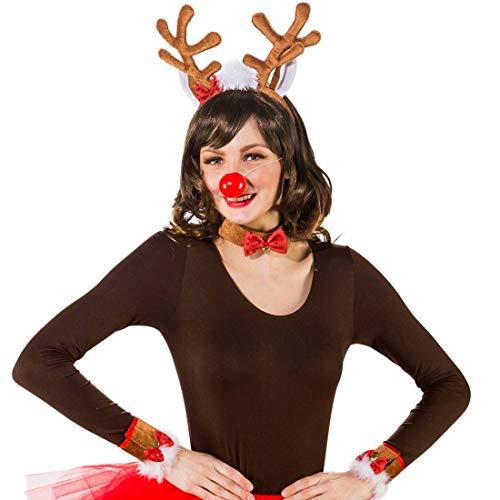 Rentier Kostüm-Set bestehend aus Haarreif , Stummel-Schwanz, Halsband & Armbändern | Braun-Rot | Verspieltes Damen-Kostüm-Zubehör Weihnachten | Perfekt geeignet für Fastnacht & Weihnachtsfeier (Damen Kostüm Rentier)