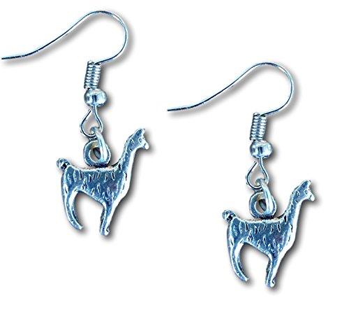 Lama Alpaka Silber Charm Figur Ohrringe von Farralone (Vegetarische Milch)