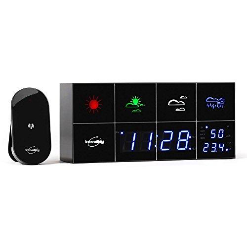 Innovalley SM500 Wecker Wetterstation LED-Wetterstadion mit Außensensor (Sensor mit Temperatur- und Luftfeuchtigkeitsmesser, Hygrometer, verspiegeltes LC-Farb-Display, 3-farbig, mit Wetter-Symbolen