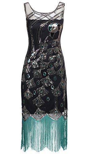 BABEYOND Damen Pailletten Pfau Feder Muster Lange Kleider mit Troddel Ohne Arm Damen Retro Kostüm Kleid Abbildung 2