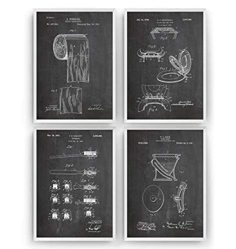 Salle De Bains Affiche De Brevet - Lot De 4 Affiches - Impressions Bathroom Prints lavabos Art Patent Posters Poster toilette Cadeaux Pour Hommes Décor Femmes Lui Blueprint - Cadre Non Inclus
