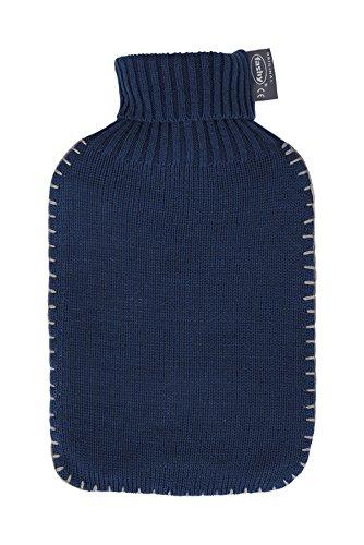 Fashy Wärmflasche mit Rollkragen-Strickbezug und Schlingennaht, Farbe marine