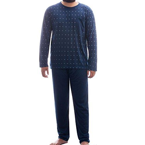 Lucky Herren Pyjama Schlafanzug Rundhals Ausschnitt klassisches Muster langes Bein und Langarm, Farbe:Navy;Größe:XXL