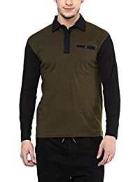Hypernation Military Green And Black Color Cotton Polo T-shirt For Men.