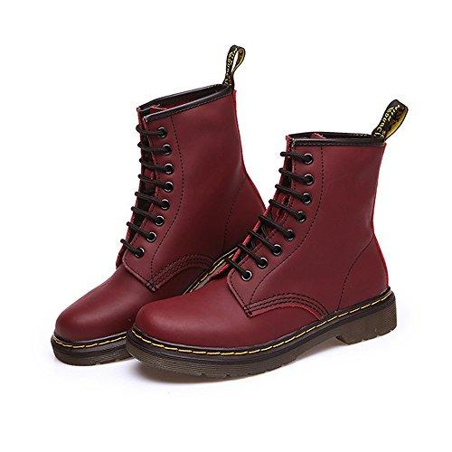 uBeauty Femme Martin Bottes Flattie Sport Boots Chaussures Classiques Bottines À Lacets Rose