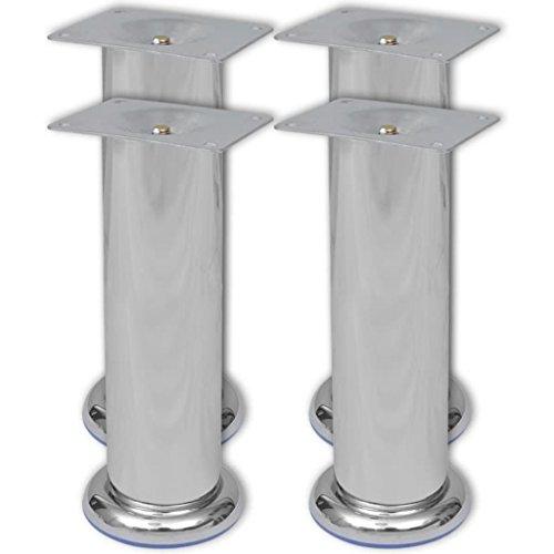 Nickel Gebürstet Füße (XINGLIEU 4 Runde Sofafüße, modern, gebürstetes Nickel, 180 mm, Durchmesser des Fußes 70 mm, Chrom, sehr robust und stabil)