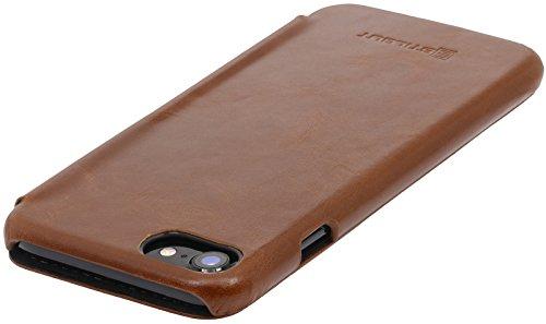 StilGut Book Type Case, custodia in pelle cover per iPhone 7 & iPhone 8 (4,7). Chiusura a libro Flip-Case in vera pelle, nero Cognac