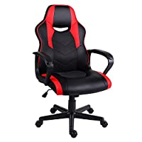 EUCO Gaming Chair,Computer Desk Chair with Padded Armrests Ergonomics Office Chair PU Leather Racing PC Chair Swivel Chair,Red/Blue/White/Black (Black&Red)