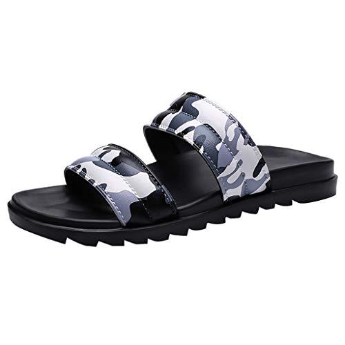 Ziyou Sandalen Männer Sommer Strand Flip Flops Hausschuhe Camouflage Male Slipper Flache Schuhe (Grau,40 - Mann Thong Kostüm
