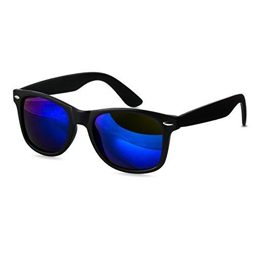 CASPAR SG017 Lunettes de soleil WAYFARER UNISEXE avec monture transparente - plusieurs coloris noir mat/miroir bleu