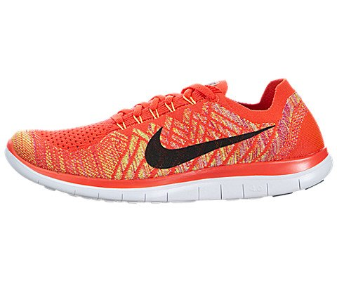 nike free 4.0 flyknit mens running trainers 717075 sneakers shoes (uk 10 us 11 eu 45, bright crimson black hot lava volt 600)