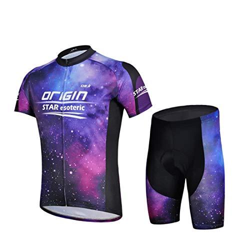 GWELL Herren Radtrikot Galaxie Fahrradbekleidung Set Trikot Kurzarm + Shorts mit Sitzpolster für Radsport Outdoor Violett L - Galaxy Jersey