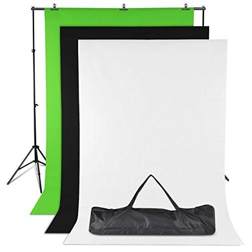 Professional Photo Studio 2x3 Meter Hintergrund Support Kit Stand mit Fotohintergrund Kulisse Bildschirm All In 1 Fotografie-Satz mit Qualität Kommt Tragetasche Schwarz/Weiß / Grün Hintergrund Collapsible Muslin Hintergrund