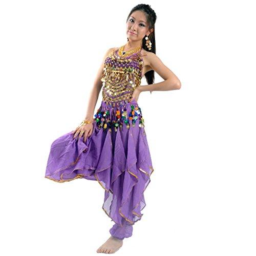 Best Dance Damen Bauchtanz Kostüm-Set Top & Tribal Gold gewellt Harem Hose (Diva Dance Kostüme)