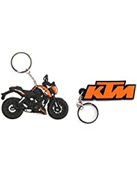 Techpro Rubber Keychain With Duke And KTM Design Combo Pack