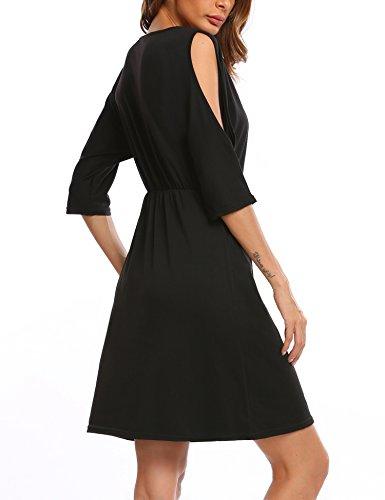 Finejo Damen Kleid Kalte Schulter Minikleid mit Tasche Casual Stretch Lässig Shirtkleid für Freizeit Partykleid Schulterfrei Schwarz M - Kalte Schulter Kleid