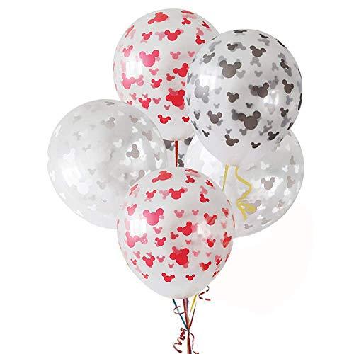 ATEZIEU 10pcs Mickey Maus Ballons Party Dekoration Minnie Maus Kopfband Geburtstag Banner Wave Point Ballons für Mädchen Geburtstag Baby Dusche Dekoration