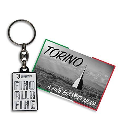 tex family Schlüsselanhänger bis FINE aus Metall F.C. Juventus und Postkarte Torino ist