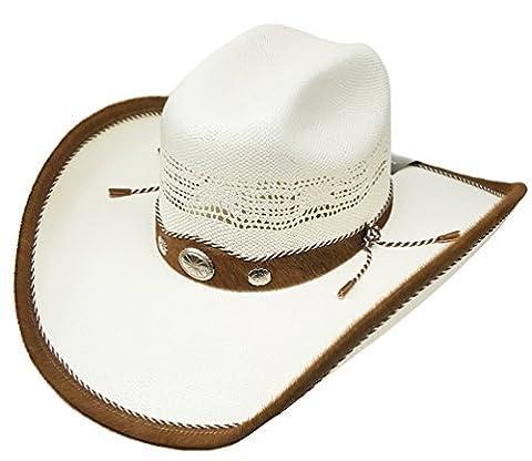 Modestone Straw Chapeaux Cowboy Genuine Cow Leather