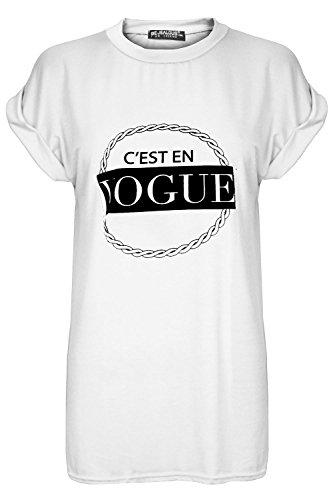 Damen Cesten Vogue Bedruckt Stretch Baggy Übergröße Umgeschlagene Kappe Hülse T Shirt Spitze Übergröße Cest Vogue Weiß - Trikot Viskose Fußball