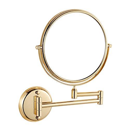 Espejo aumento, Espejos de pared, Espejo de cortesía plegable en el baño, Espejo de metal, lupa 10...