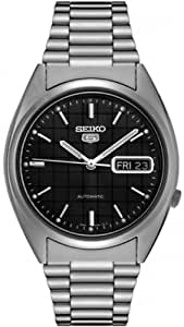 Seiko5 Automatic Stainless Men's Watch with Day/ date Grey Patterned Dial SNXF07K
