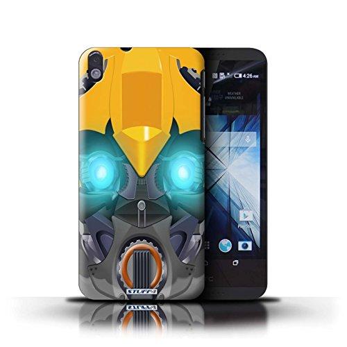 Kobalt® Imprimé Etui / Coque pour HTC Desire 816 / Mega-Bot Jaune conception / Série Robots Bumble-Bot Jaune