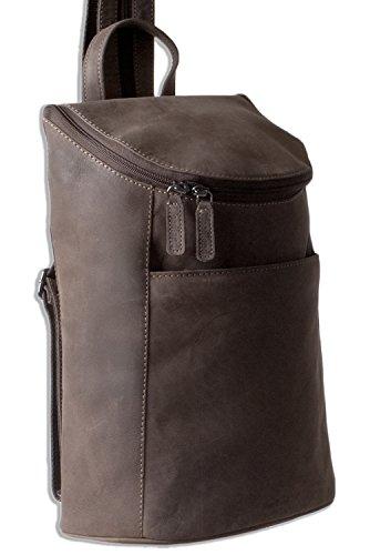 Woodland® – Rucksack aus weichem, naturbelassenem Büffelleder in Dunkelbraun/Taupe - 2