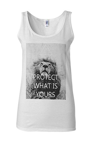 Protect What Is Yours Lion Triangle Novelty White Femme Women Tricot de Corps Tank Top Vest **Blanc