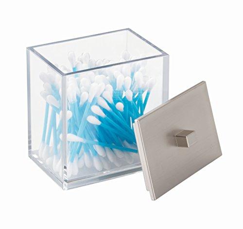 InterDesign 41480EU Clarity Behälter für Kosmetikartikel, Wattestäbchen, Wattebäuschchen - Durchsichtig/Gebürstet ABS 8,89 x 6,35 x 10,80 cm (Jonathan Adler Bad)