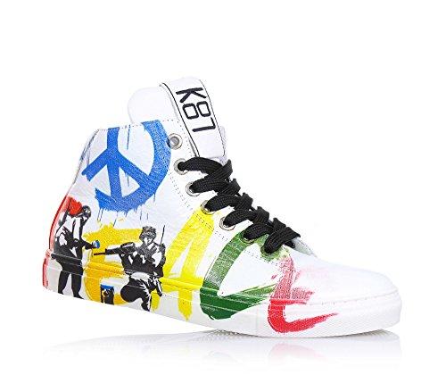 BE KOOL - Sneaker bianca stringata in pelle, ispirata dal mondo dell'arte di strada, con chiusura a zip laterale, occhielli in metallo, Unisex Bambino-28