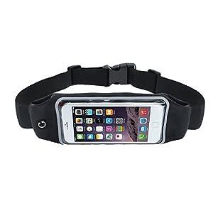 Laufgürtel Sport Hüfttasche Bauchtasche Lauftasche, für Damen & Herren, Gürteltasche handytasche für Running Fitness Jogging, für Handy iPhone 6 7 8 X plus, Samsung S7 S8 S9, Huawei P20 (Schwarz)